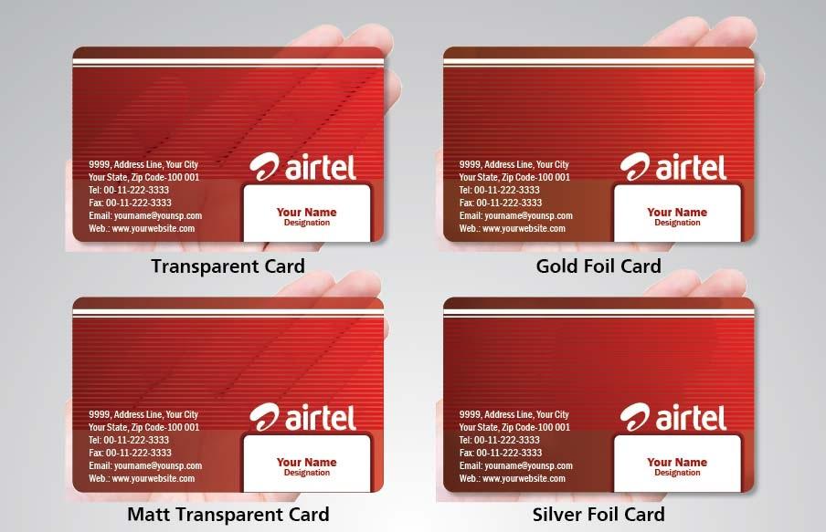 Transparent Business Cards in Delhi & NCR